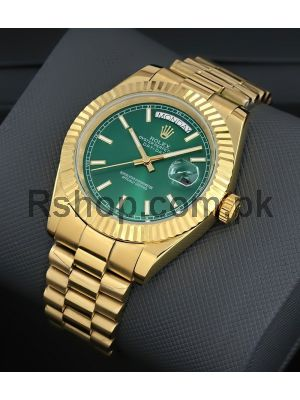 Rolex Day-Date  Green Dial Gold Watch Price in Pakistan