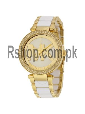 Michael Kors Watches Parker Gold-Tone and White Watches in Karachi,